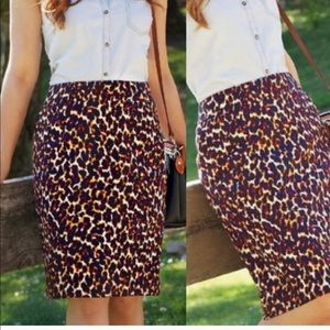 Merona Leopard Print Stretch Pencil Skirt Knee 6